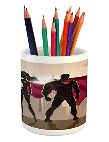 Ambesonne Superhero Pencil Pen Holder, Super Woman and Man H