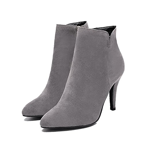 AgooLar Women's Pointed Closed Toe High-Heels Frosted Low-top Solid Boots Gray x9yH5uRC