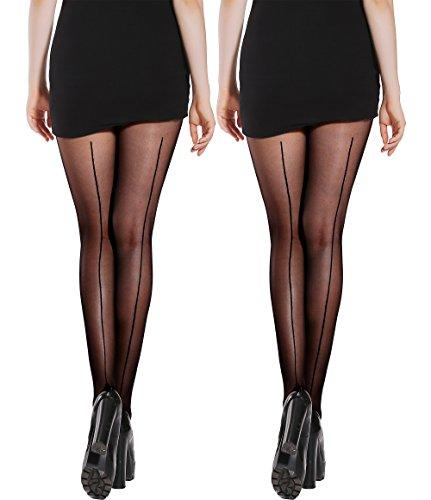 Plus Size Sheer Stockings (Semi Sheer Pantyhose Back Seam &Bikini Crotch Tights Shaping Leg Stockings 2 Pack (Black, C/D))