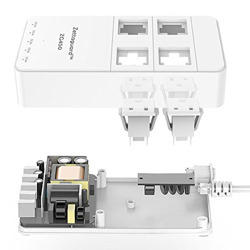 Zettaguard Mini 4-Outlet Travel Power Strip / Surge Protector with USB Charger, White (ZG450) by Zettaguard (Image #1)