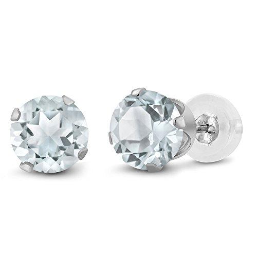 1 50 Round Aquamarine White Earrings