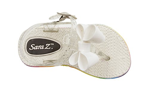 Sara Z Toddler Girl's Jelly Thong Slingback Flat Sandal with Chiffon Blossom With Bow 11/12 White