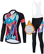 Women's Long Sleeve Cycling Suits Set Cycling Jersey with 3D Gel Padded Pants Trousers Autumn Winter Therm