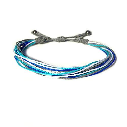 Unisex String Surf Bracelet with Hematite Stones in Grey, Aqua, White, Royal Blue and Metallic Silver: Handmade Pull Cord Ocean Surfer Bracelet by Rumi Sumaq