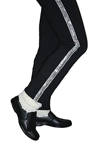 [Michael Jackson Billie Jean Pants Costume with Sock (M, black)] (Michael Jackson Billie Jean Costumes For Kids)