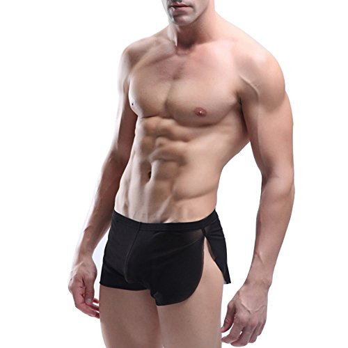 FEESHOW Men's Soft Sheer Mesh Boxer Briefs Shorts Underwear Swim Trunks Black X-Large(Waistline - Sheer Shorts Mens