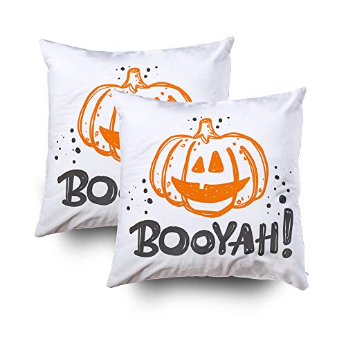 ROOLAYS Zip Pillow Cases Square Throw Pillowcase Covers 18X18Inch Halloween Party Logo Icon Label Your Lettering Celebration Motivational Slogan Can Be Easter Both Sides Print Farmhouse Decor -