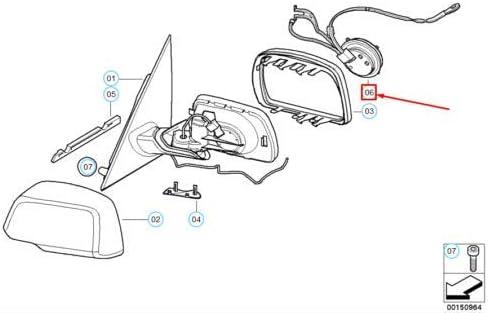 X3 Series E83 Kit de r/éparation pour moteur de r/étroviseur droit 67136965062