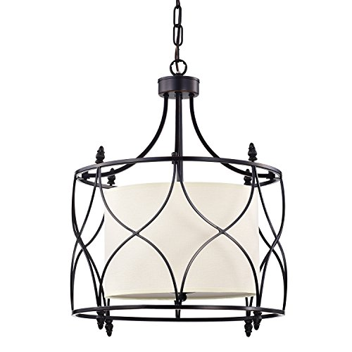 Edvivi Merga 3-Light Oil Rubbed Bronze Wrought Iron Drum Cream White Shade Chandelier Ceiling Fixture | Coastal Lighting