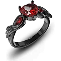 Heart Shaped Lab-created Ruby Black Gold Filled 925 Silver Women Angel Wing Ring Size 6-10 (10)