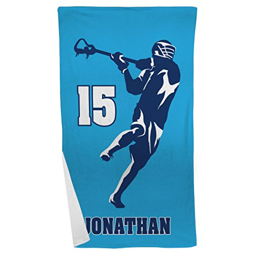 (ChalkTalkSPORTS Personalized Guys Lacrosse Jump Shot Silhouette Beach Towel | Navy-Carolina)
