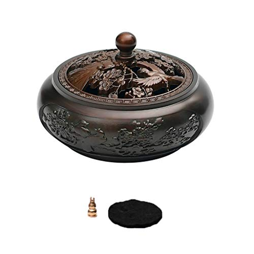 Home Incense Holders Burner Incense Burner Pure Copper Household Antique Disc Sandalwood Furnace Zen Purifying Air Aromatherapy Furnace Incense Holders Burner (Color : Purple)
