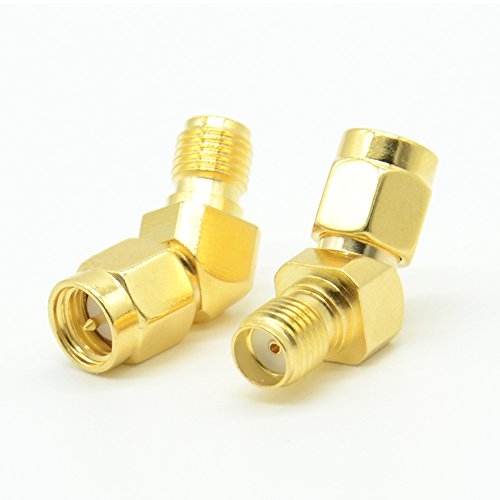 RF design 2pcs RF FPV Antenna Adapter SMA Male to SMA Female 45 Degree Gold Plated Connector for FPV Race RX5808 Fatshark Goggles Pack