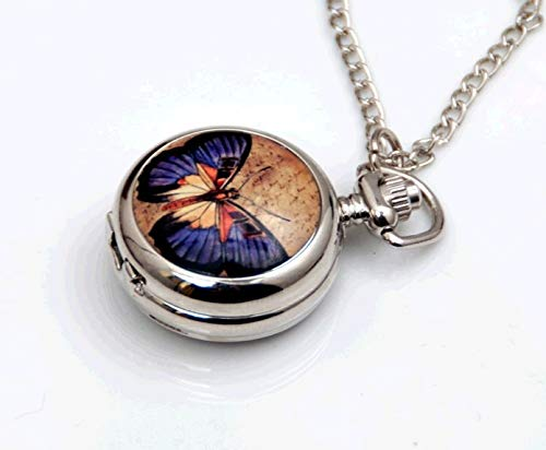 Small Enamel Antique Quartz Pocket Watch Necklace Butterfly Pattern Women Girl Gift
