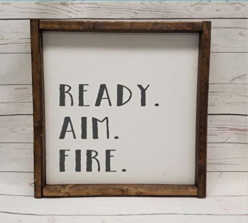 Ready. Aim. Fire, Farmhouse sign, rustic decor, fixer upper style, bathroom decor art, kid or master bathroom, wash your hands