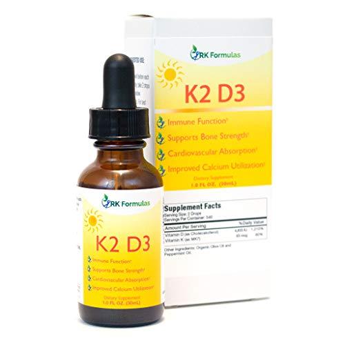 Liquid K2 D3 Drops by RK Formulas 1 oz • K2 (MK7) for Fast Effective Absorption • 4833 IU's Per Serving • All Natural Vitamin D - Tastes Great