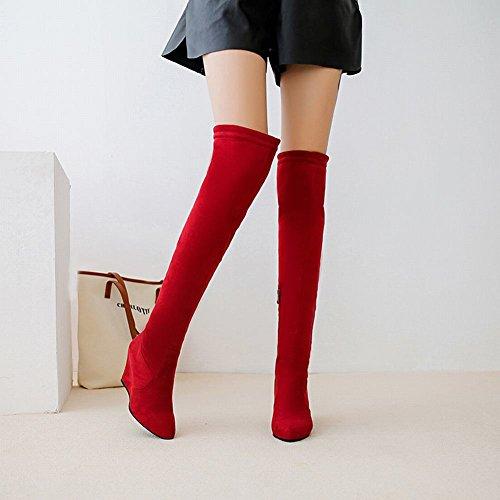 Mee Shoes Damen Keilabsatz langschaft Nubuck Stiefel Rot