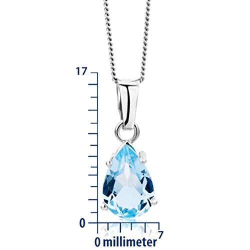 Miore - Collier Femme - Or blanc 375/1000 (9 carats) 1.61 gr - Topaze bleue