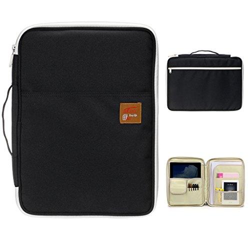 BTSKY Multi-Functional A4 Document Bags Portfolio Organizer-Waterproof Travel Pouch Zippered Case for Ipads, Notebooks, Pens, Documents (Black)
