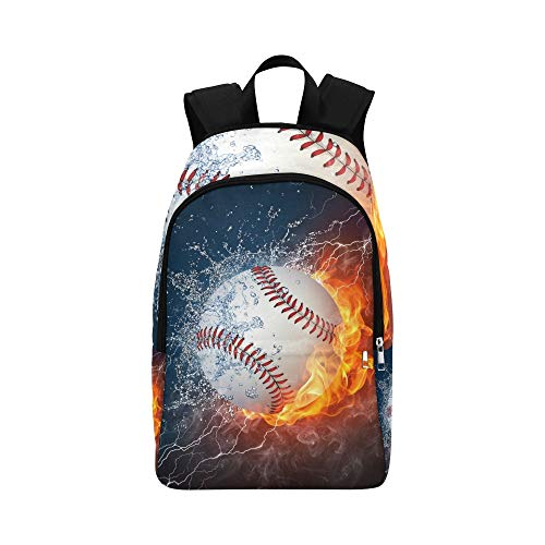 JXCSGBD Baseball Ball Fire Water Baseball Casual Daypack Travel Bag College School Backpack for Mens and ()