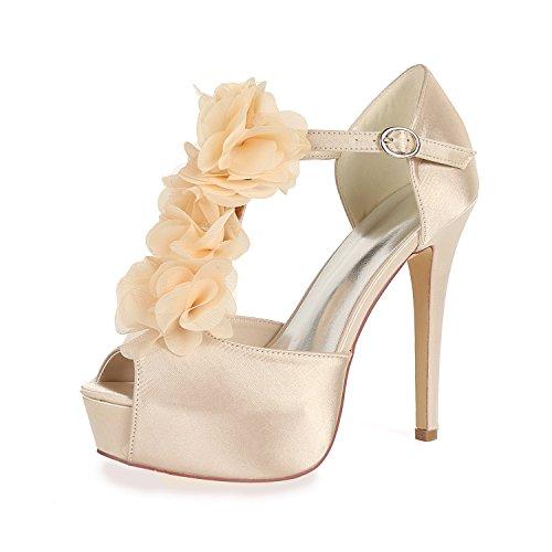 Flower Soirée Ager Courroie Cheville EU39 Femmes Satin Chaussures Boucle Peep Toe 37H 3128 Mariage De Plate Champagne Forme Talon Cour De Haute UK6 pfqpZ