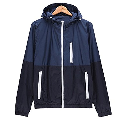 Windbreaker Men Casual Lightweight Jacket Hooded Contrast Color Zipper Up Blue XXXL from Crissiste Coat