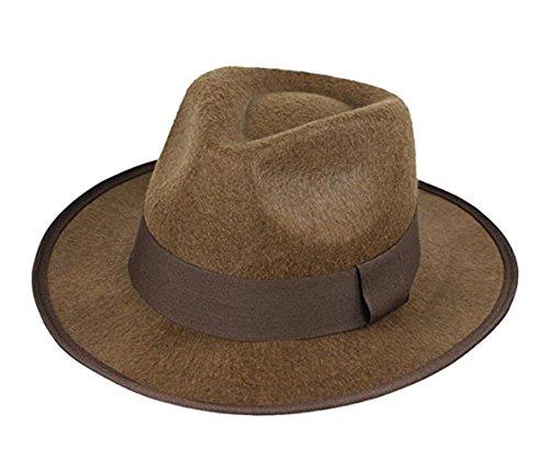 (luyaoyao Indiana Jones Men's Felt Outback Fedora with Grosgrain)