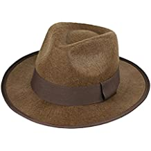 luyaoyao Indiana Jones Fedora Hat, Brown, One Size
