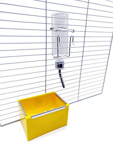 QCM Pet Water Food Feeder Kit, Including Pet Feeding Water Bottle and Food Bowl for Small Animals Cage