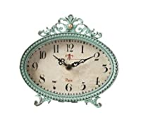 6 by 6 inch Pewter Table Clock, Aqua fro...