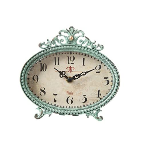 Merveilleux 6 By 6 Inch Pewter Table Clock, Aqua