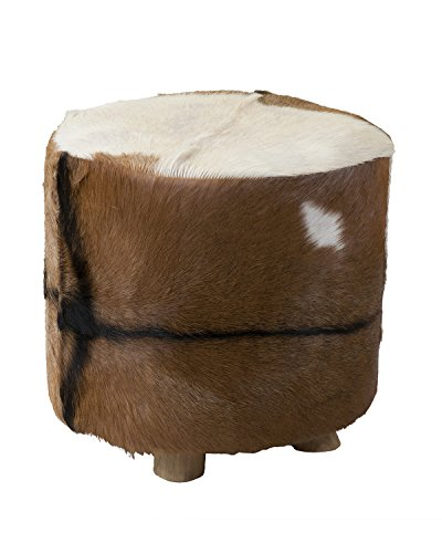 Cheap East at Main Sahara Fur Tall Ottoman Stool, White/Brown, (18.3×18.3×18)
