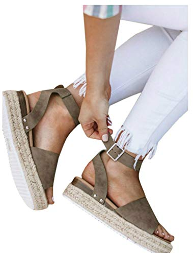 Women's Flatform Espadrilles Ankle Strap Buckle Open Toe Faux Leather Studded Wedge Summer Sandals (6.5 B(M) US, 1-Coffee)