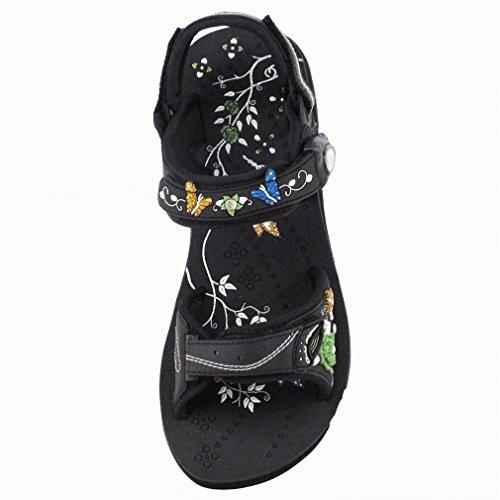 Gold Pigeon's 3645 Women Easy Magnetic Snap Closure Fashion Plateform Comfort Walking Sandal, Black, EU38