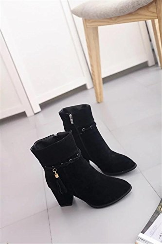 Winter Plattform NVXIE Kurze EUR36UK354 Mid Party Neue Strappy Fashion Work Heel Martin Rough Damen Stiefel Wildleder Spitz Tassel Zehen Herbst Stiefel Schuhe ZgxZrwUn1W