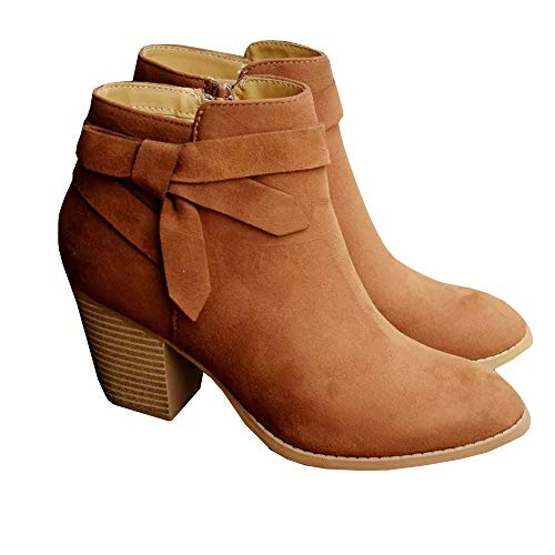 Syktkmx Womens Tie Knot Ankle Booties Chunky High Heel Pumps Slip on Block Zip Up Boots ()