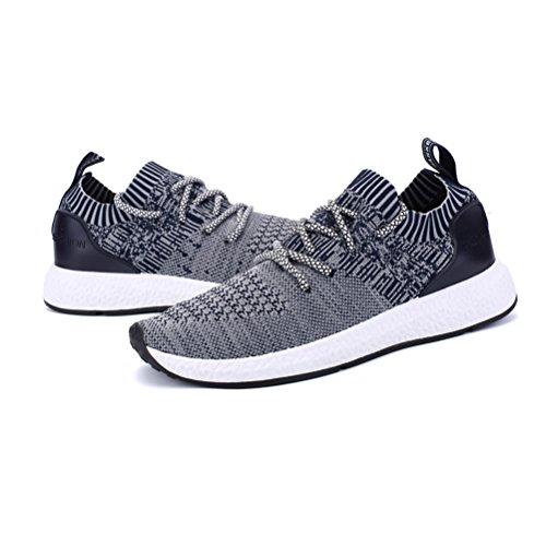 Happstore Männer stricken Laufschuhe Sportschuhe beiläufige leichte athletische Turnschuhe Breathable Tuch auf Turnhallen-gehenden Schuhen Blau