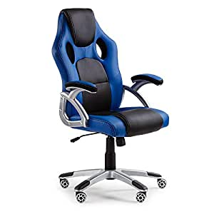 Overdrive Premium Executive Racing Office Chair, Blue/Blue