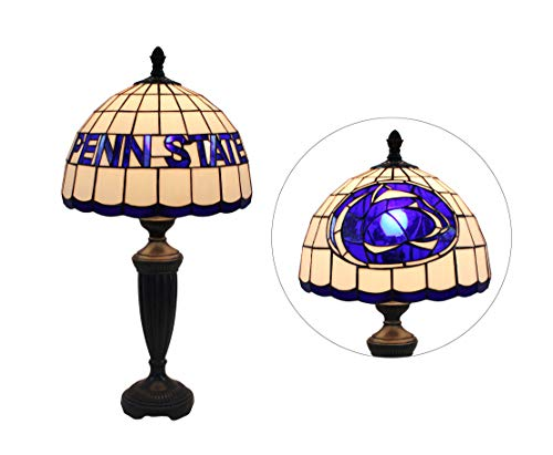 (Yogoart 12-inch Wide NCAA Penn State Nittany Lions Stained Glass Table Lamp 24.8-inch Total Height)