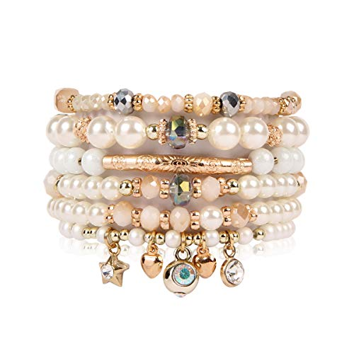 (RIAH FASHION Bohemian Multi Strand Faux Pearl Bracelets - Layer Beaded Statement Stretch Lovely Crystal Charm Bangles Flower, Star, Heart (Star & Heart - Gold))