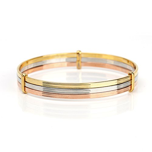 United Elegance - Contemporary Tri-Color (Rose/Silver/Gold Tone) Bangle Bracelet from United Elegance