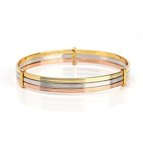 (United Elegance - Contemporary Tri-Color (Rose/Silver/Gold Tone) Bangle Bracelet)