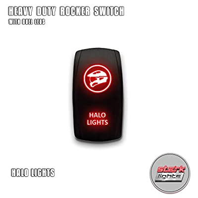 HALO LIGHTS - Red - STARK 5-PIN Laser Etched LED Rocker Switch Dual Light - 20A 12V ON/OFF: Automotive