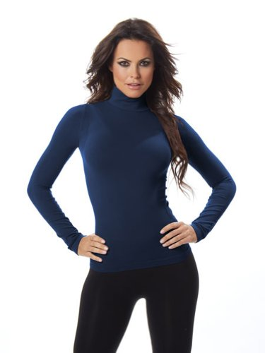 Long Sleeve Spandex Mock Turtleneck (RECOVER Women's Long Sleeve Mock Turtleneck-One Size Fits Most-Indigo)
