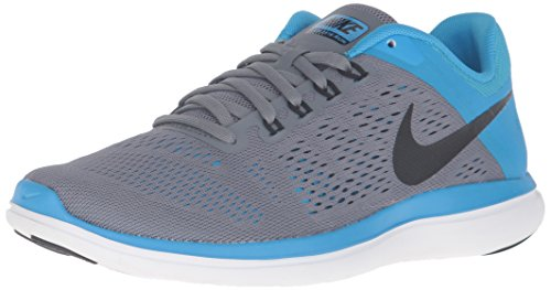 Nike Mujeres Flex 2016 Rn Zapatillas Para Correr Cool Grey / Black / Blue Glow / White