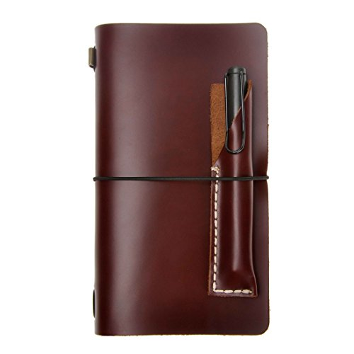 ZLYC Vintage Handmade Refillable Leather Travelers Journals Diary Notepad Notebook with Pencil Case, Brown