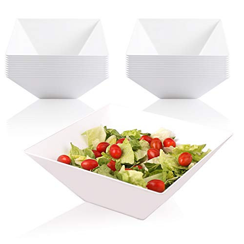 Elegant Disposable Plastic Serving Bowl - Heavyweight Fancy Square White 128oz Serving Bowls - Reusable Appetizer Bowl Party Set For Wedding, Christmas, Thanksgiving, Birthday & Other Occasions
