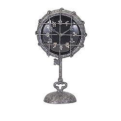 IMAX 47607 Ella Elaine Metal Pedestal Clock, Gray