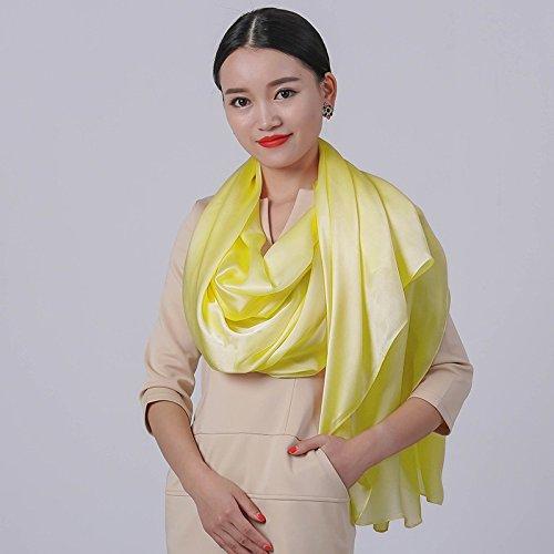 Q  LLZHWSJ Pure Couleur Silk écharpe 100 % Soie De Mûrier écharpe Long Crème Solaire
