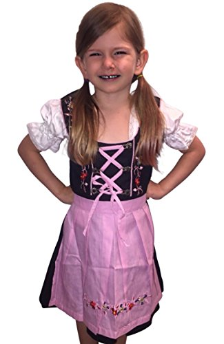 Dirndl World Childrens Dik01, German Bavarian 3 Piece Children Dirndl Dress for Oktoberfest, Blouse, Apron, Size 14